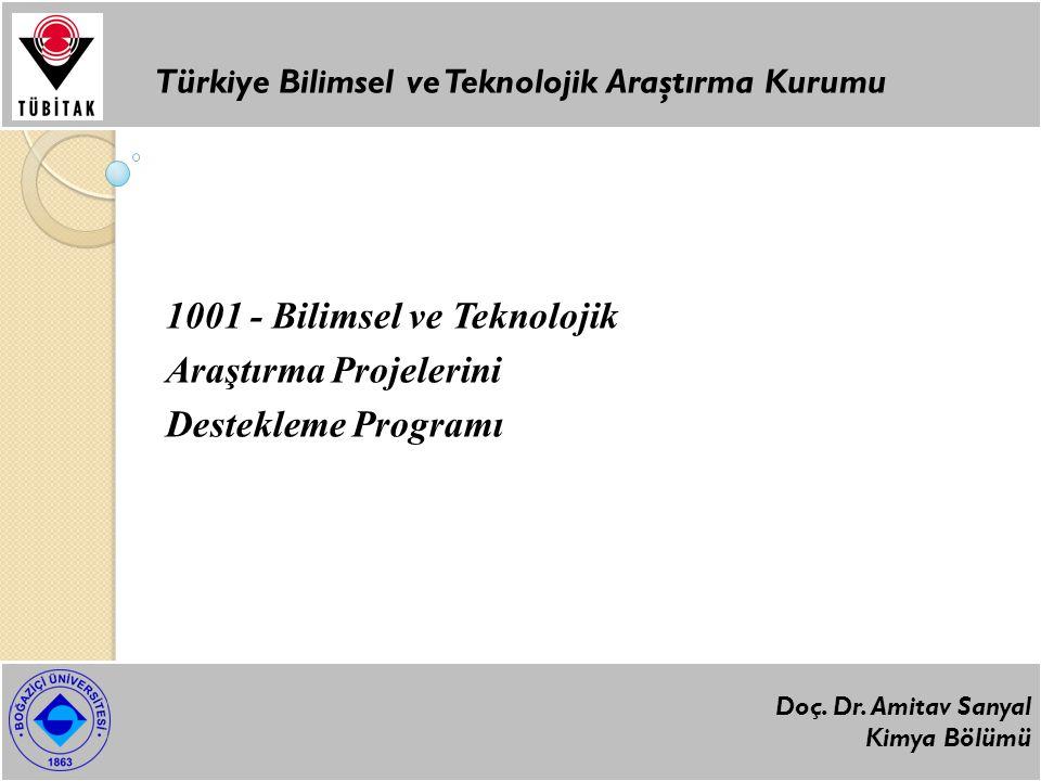 1001 - Bilimsel ve Teknolojik Araştırma Projelerini Destekleme Programı Türkiye Bilimsel ve Teknolojik Araştırma Kurumu Doç.