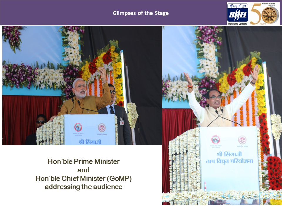 Glimpses of the Stage Hon'ble Prime Minister and Hon'ble Chief Minister (GoMP) addressing the audience