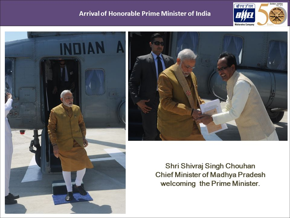 CMD BHEL welcoming the Honorable Prime Minister of India