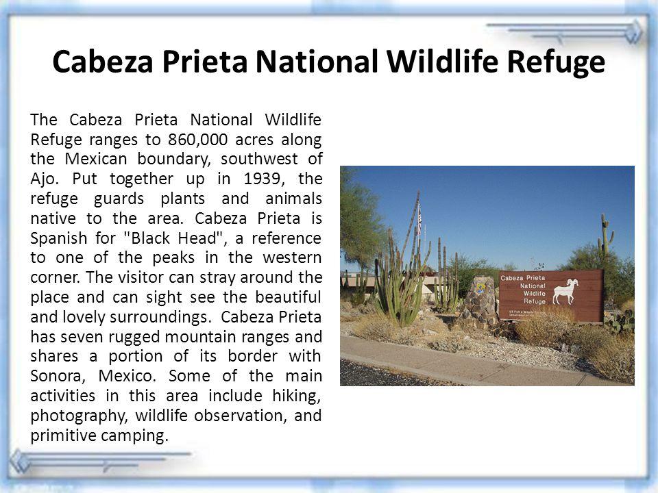 Cabeza Prieta National Wildlife Refuge The Cabeza Prieta National Wildlife Refuge ranges to 860,000 acres along the Mexican boundary, southwest of Ajo