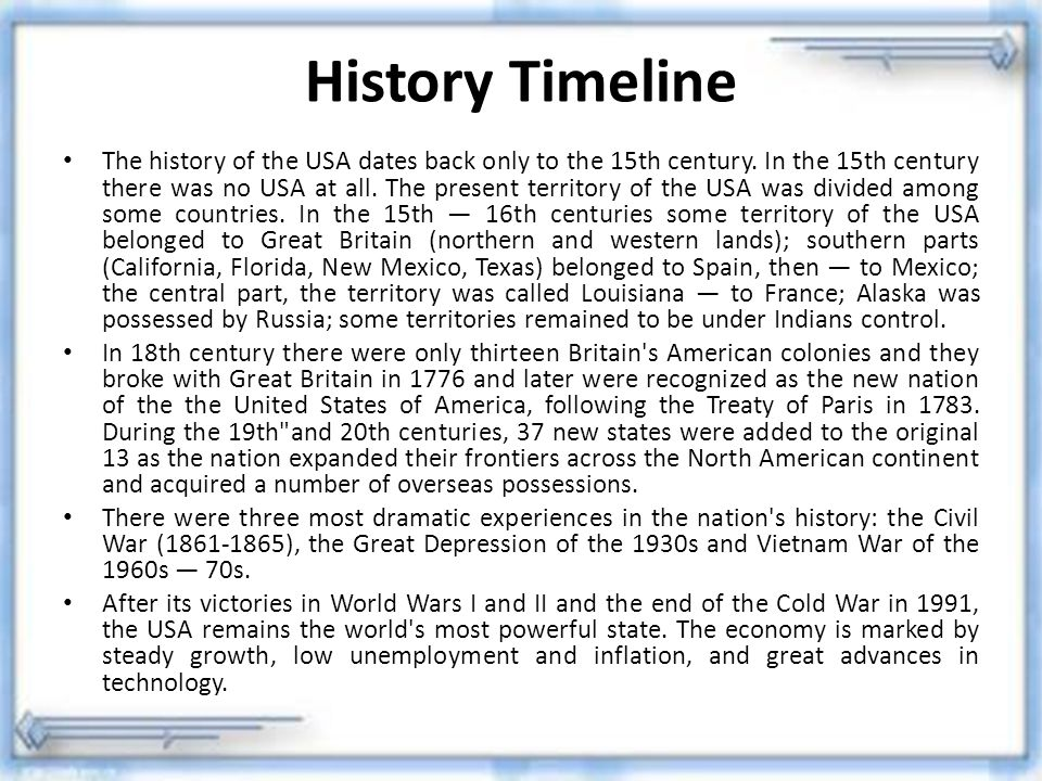 History Timeline The history of the USA dates back only to the 15th century. In the 15th century there was no USA at all. The present territory of the