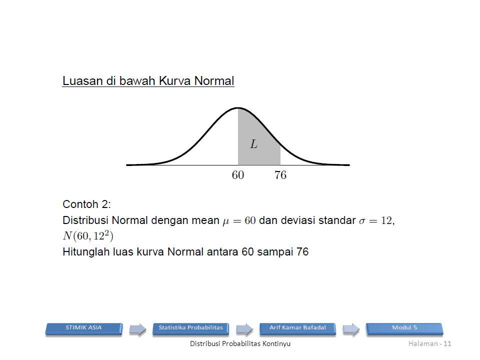 Distribusi Probabilitas KontinyuHalaman - 11
