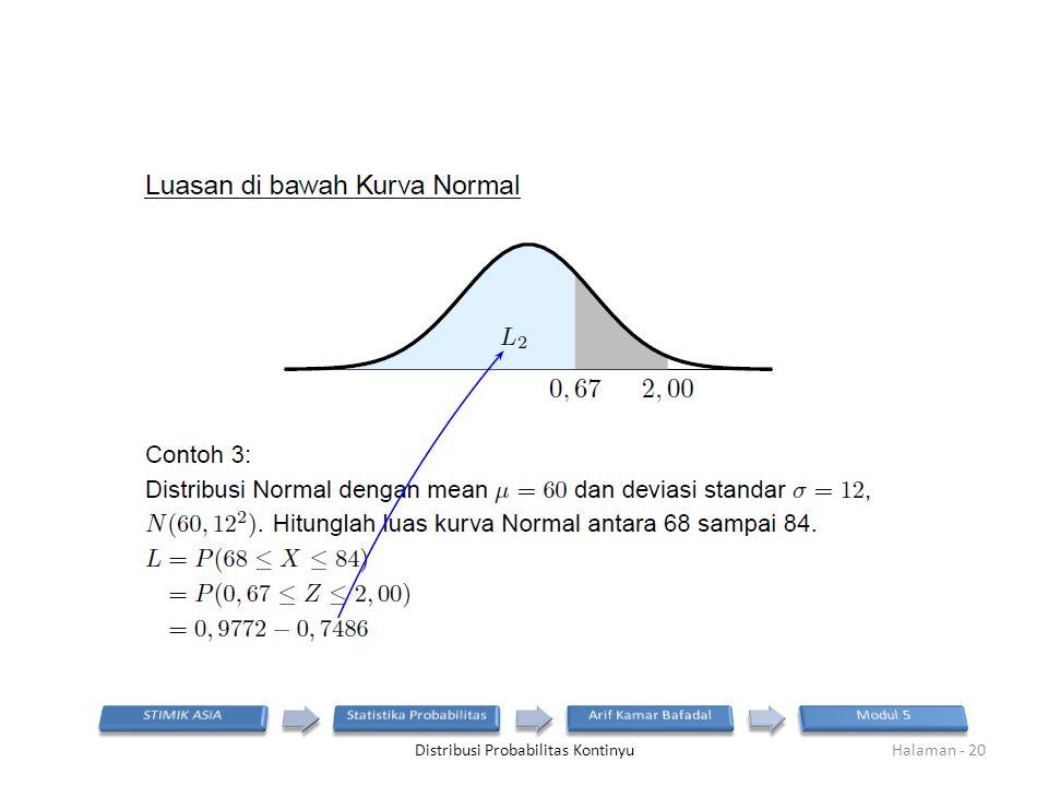 Distribusi Probabilitas KontinyuHalaman - 20