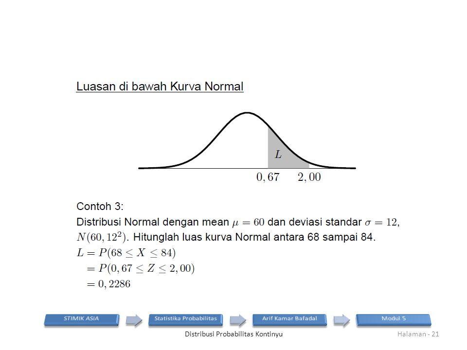 Distribusi Probabilitas KontinyuHalaman - 21