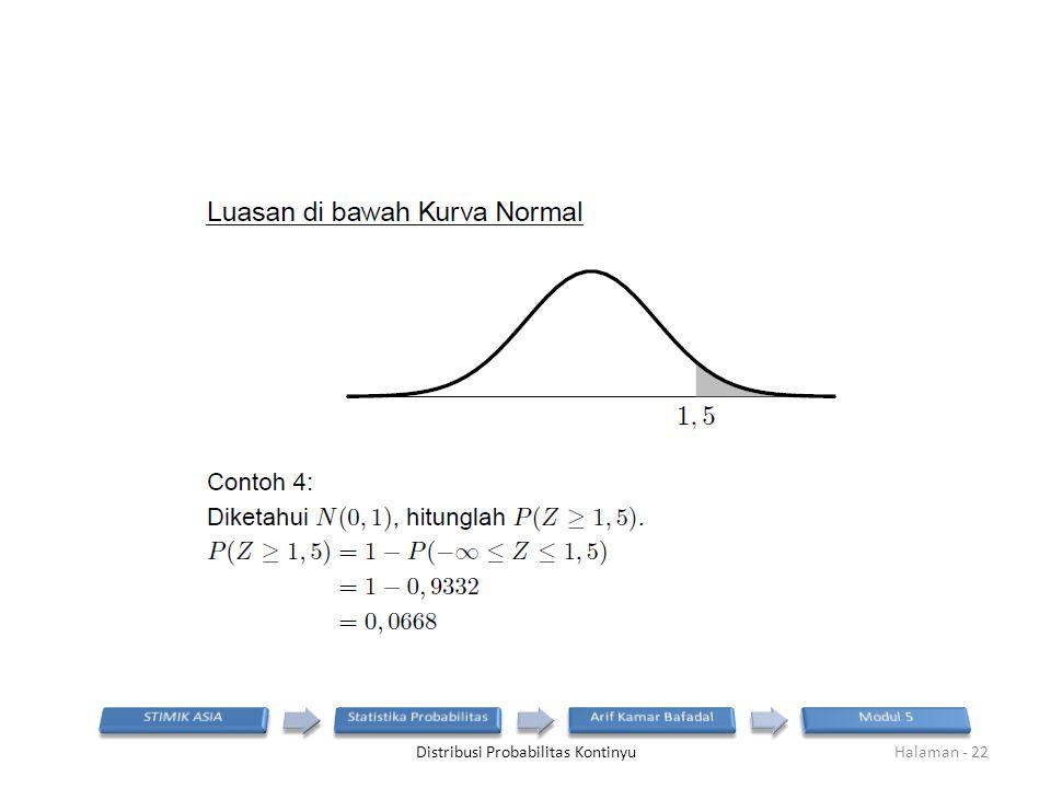 Distribusi Probabilitas KontinyuHalaman - 22