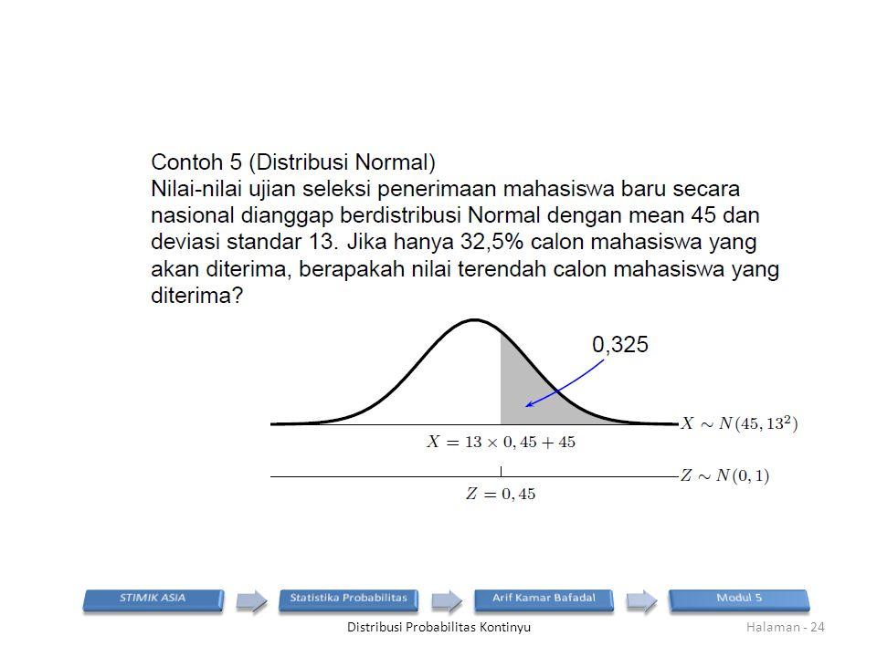 Distribusi Probabilitas KontinyuHalaman - 24