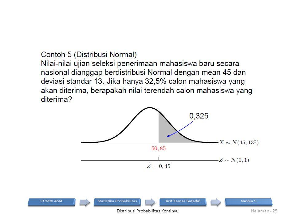Distribusi Probabilitas KontinyuHalaman - 25