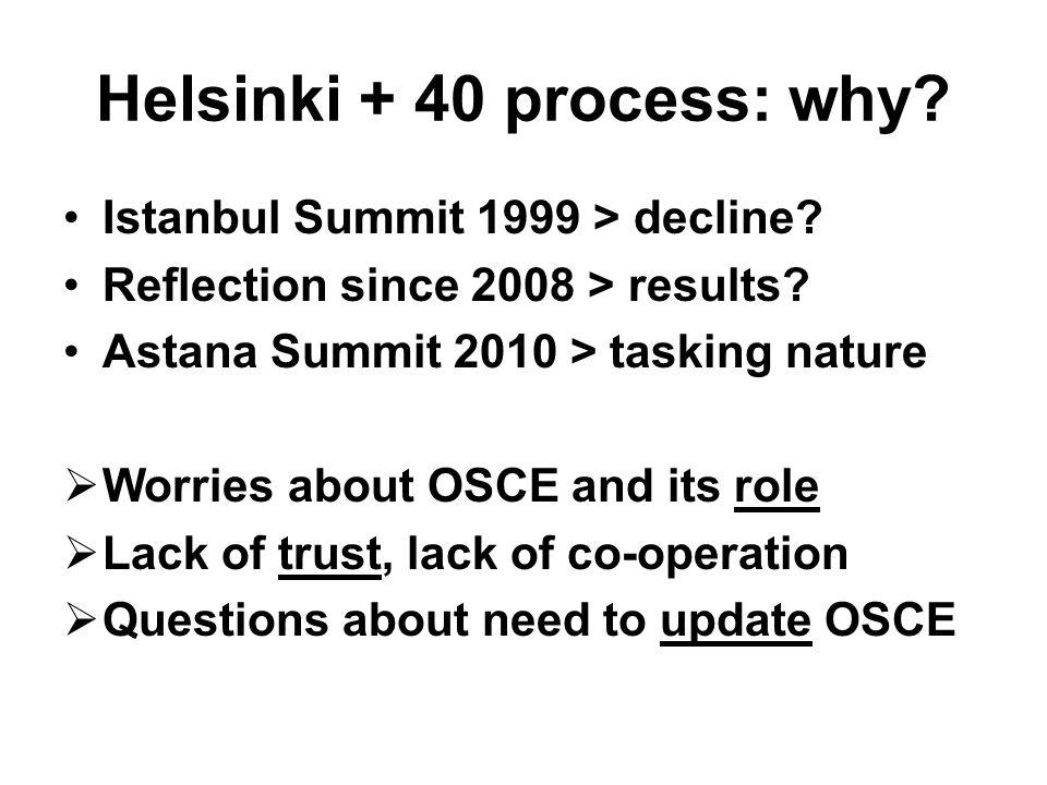 Helsinki + 40 process: why. Istanbul Summit 1999 > decline.