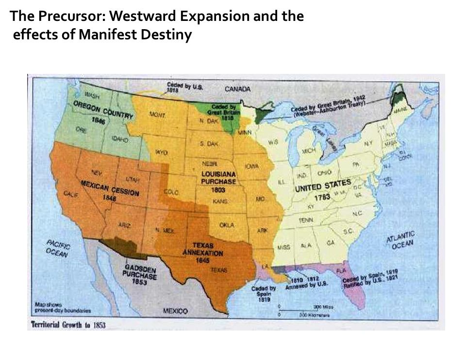The Precursor: Westward Expansion  The Opening of China  Opium Wars  America persuades the Chinese Emperor the same concessions as that of Britain; gave birth to the idea of enormous wealth as a result of trade w/ China  Led to the projecting of a railroad to the Pacific Coast  Each section wanted the RR to bring Chinese trade its way  TTYN: How does Manifest Destiny fit into this equation?