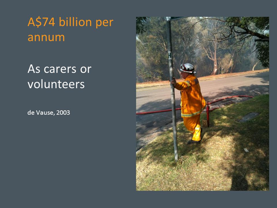 A$74 billion per annum As carers or volunteers de Vause, 2003