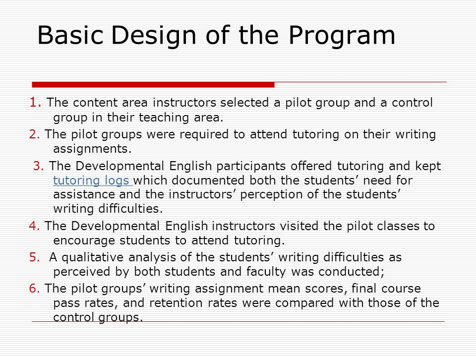 Basic Design of the Program 1.