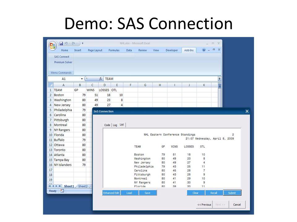 Demo: SAS Connection