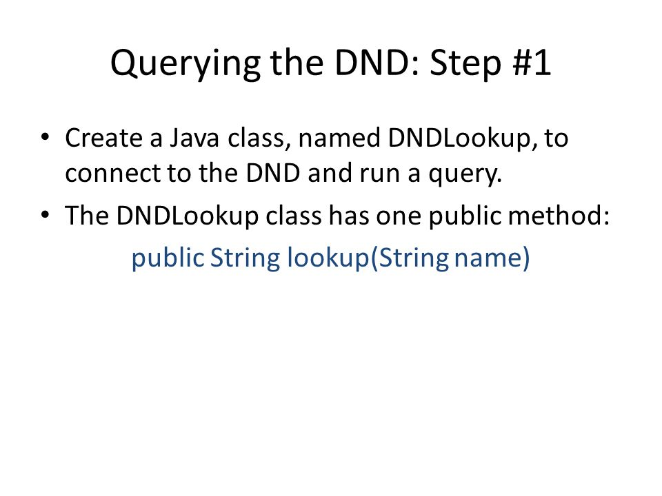 Querying the DND: Step #1 Create a Java class, named DNDLookup, to connect to the DND and run a query.