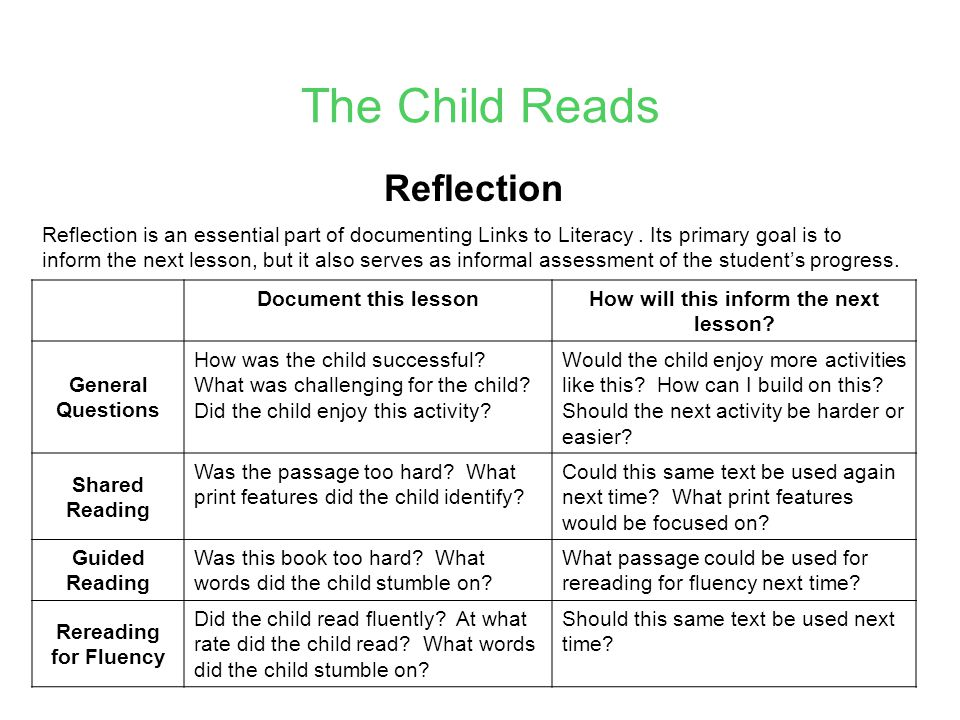 The Child Reads Reflection Reflection is an essential part of documenting Links to Literacy.