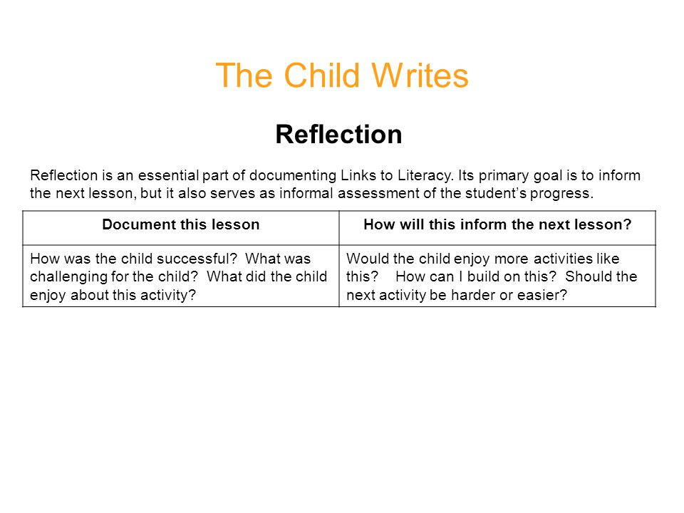 The Child Writes Reflection Reflection is an essential part of documenting Links to Literacy.