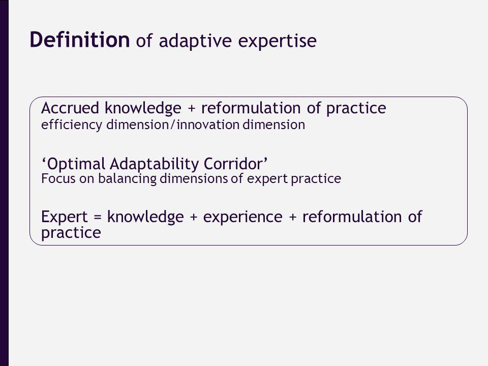 Accrued knowledge + reformulation of practice efficiency dimension/innovation dimension 'Optimal Adaptability Corridor' Focus on balancing dimensions