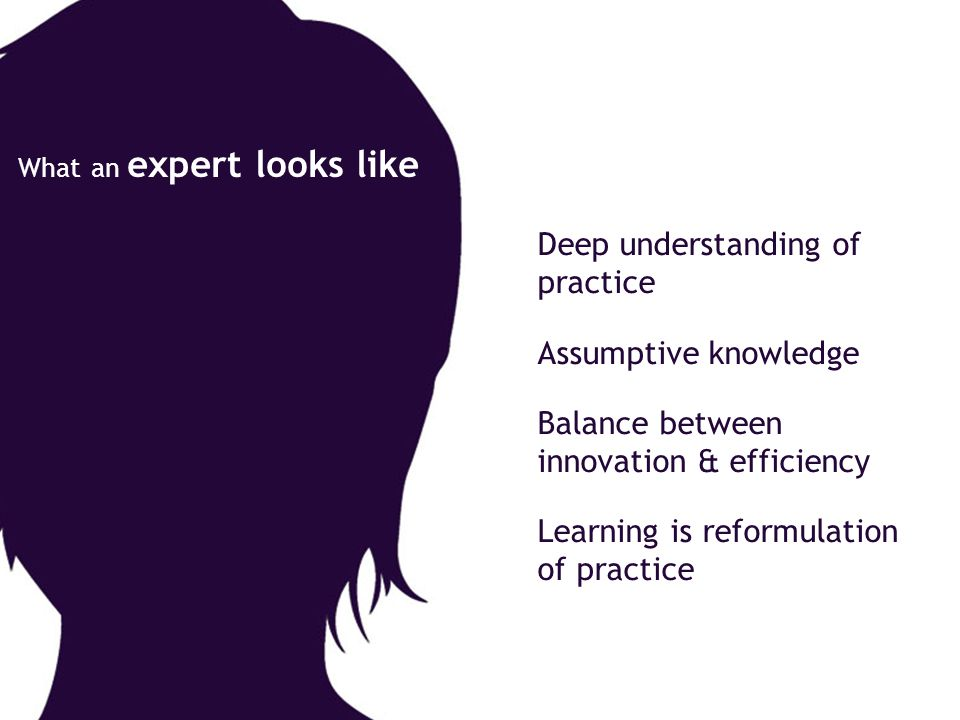 Deep understanding of practice Assumptive knowledge Balance between innovation & efficiency Learning is reformulation of practice What an expert looks