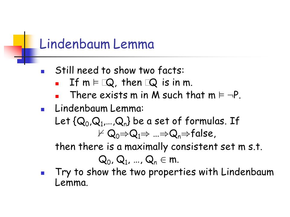 Lindenbaum Lemma Still need to show two facts: If m ²  Q, then  Q is in m.