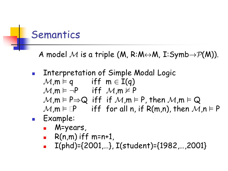 Semantics A model M is a triple (M, R:M $ M, I:Symb !P (M)).