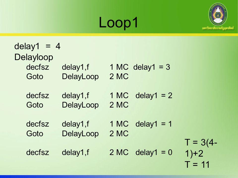 Full Loop1 delay1 = 0 Delayloop decfsz delay1,f1 MCdelay1 = 255 GotoDelayLoop2 MC … decfsz delay1,f1 MCdelay1 = 1 GotoDelayLoop2 MC decfsz delay1,f2 MC delay1 = 0 T = 3(256-1)+2 T = 767 MC