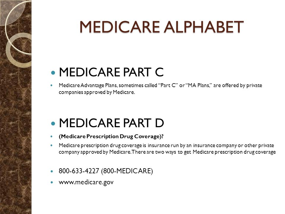 MEDICARE ALPHABET MEDICARE PART C Medicare Advantage Plans, sometimes called Part C or MA Plans, are offered by private companies approved by Medicare.