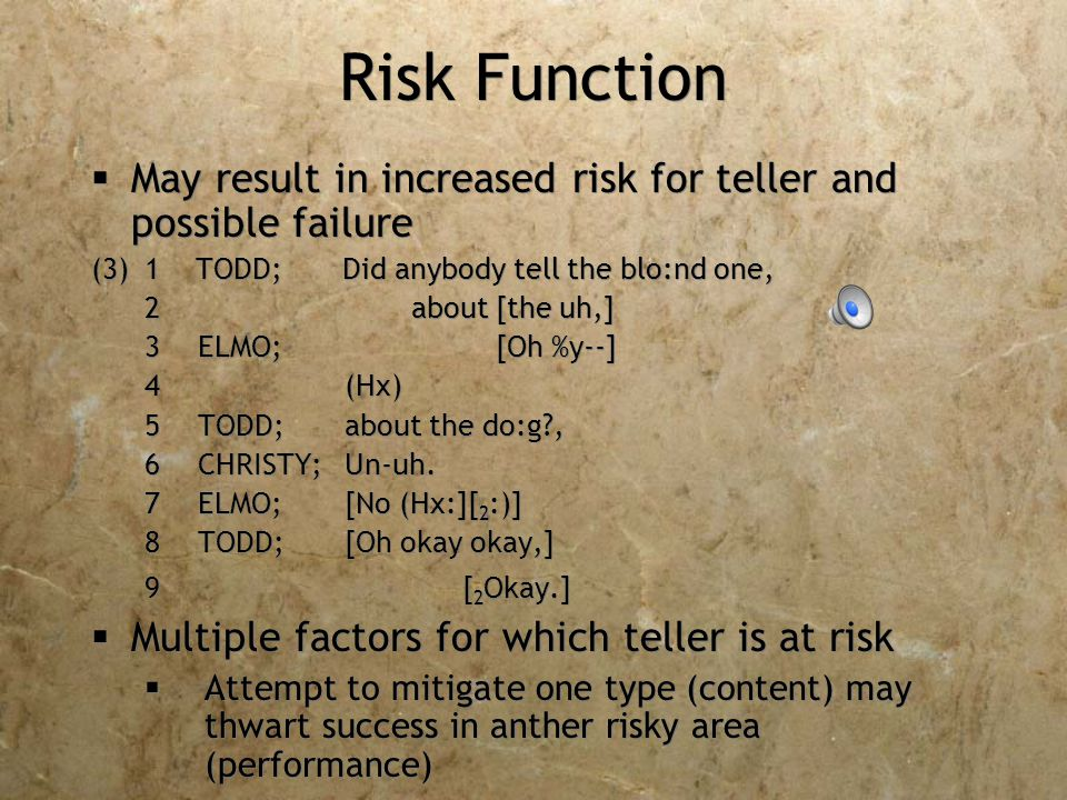 Risk Function  May result in increased risk for teller and possible failure (3)1 TODD; Did anybody tell the blo:nd one, 2 about [the uh,] 3ELMO; [Oh %y--] 4 (Hx) 5TODD;about the do:g , 6CHRISTY;Un-uh.