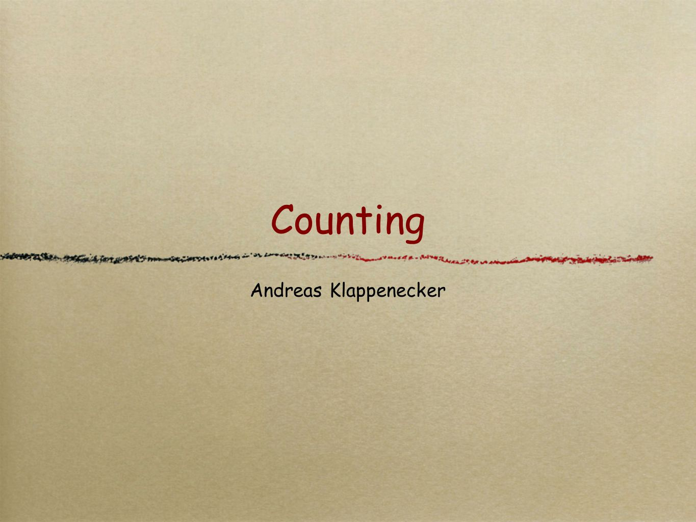 Counting Andreas Klappenecker