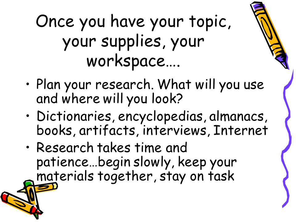 Once you have your topic, your supplies, your workspace…. Plan your research. What will you use and where will you look? Dictionaries, encyclopedias,