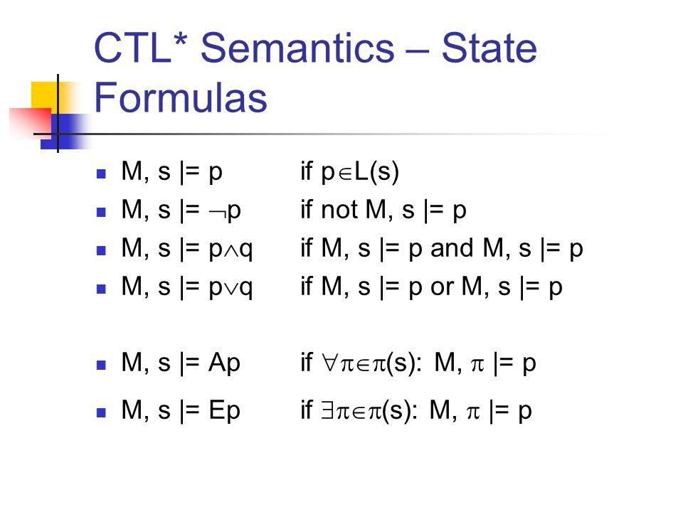 CTL* Semantics – State Formulas M, s |= p if p  L(s) M, s |=  p if not M, s |= p M, s |= p  qif M, s |= p and M, s |= p M, s |= p  qif M, s |= p or M, s |= p M, s |= Ap if  (s): M,  |= p M, s |= Ep if  (s): M,  |= p