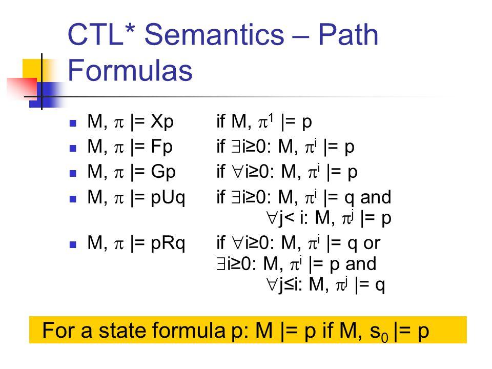 CTL* Semantics – Path Formulas M,  |= Xp if M,  1 |= p M,  |= Fp if  i≥0: M,  i |= p M,  |= Gp if  i≥0: M,  i |= p M,  |= pUq if  i≥0: M,  i |= q and  j< i: M,  j |= p M,  |= pRq if  i≥0: M,  i |= q or  i≥0: M,  i |= p and  j≤i: M,  j |= q For a state formula p: M |= p if M, s 0 |= p
