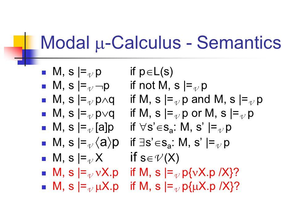 Modal  -Calculus - Semantics M, s |= V p if p  L(s) M, s |= V  p if not M, s |= V p M, s |= V p  qif M, s |= V p and M, s |= V p M, s |= V p  qif M, s |= V p or M, s |= V p M, s |= V [a]pif  s'  s a : M, s' |= V p M, s |= V  a  p if  s'  s a : M, s' |= V p M, s |= V X if s  V (X) M, s |= V X.pif M, s |= V p{ X.p /X}.