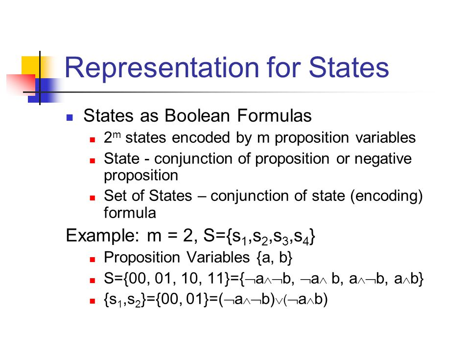 Representation for States States as Boolean Formulas 2 m states encoded by m proposition variables State - conjunction of proposition or negative proposition Set of States – conjunction of state (encoding) formula Example: m = 2, S={s 1,s 2,s 3,s 4 } Proposition Variables {a, b} S={00, 01, 10, 11}={  a   b,  a  b, a   b, a  b} {s 1,s 2 }={00, 01}=(  a   b)  (  a  b)