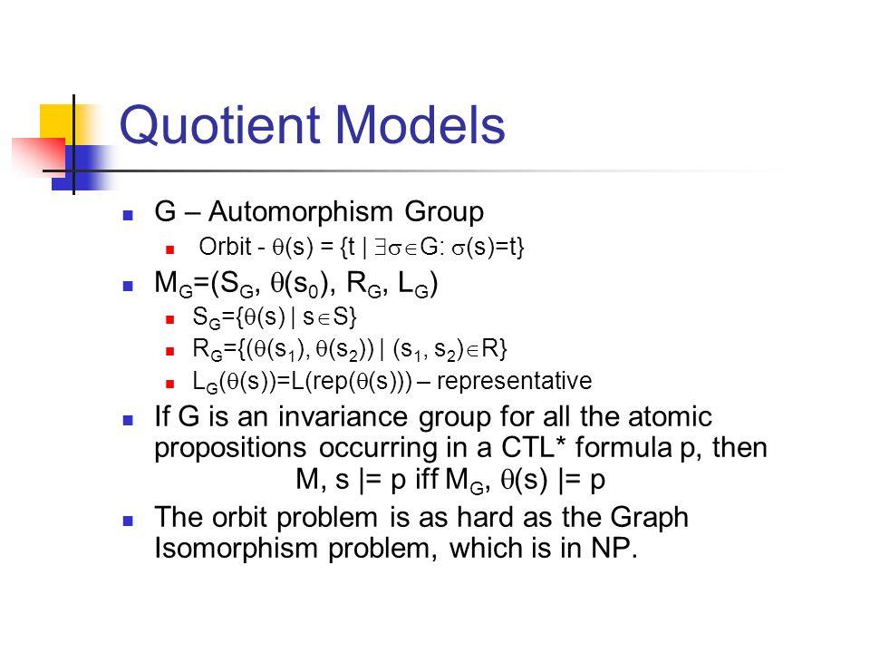 Quotient Models G – Automorphism Group Orbit -  (s) = {t |  G:  (s)=t} M G =(S G,  (s 0 ), R G, L G ) S G ={  (s) | s  S} R G ={(  (s 1 ), 