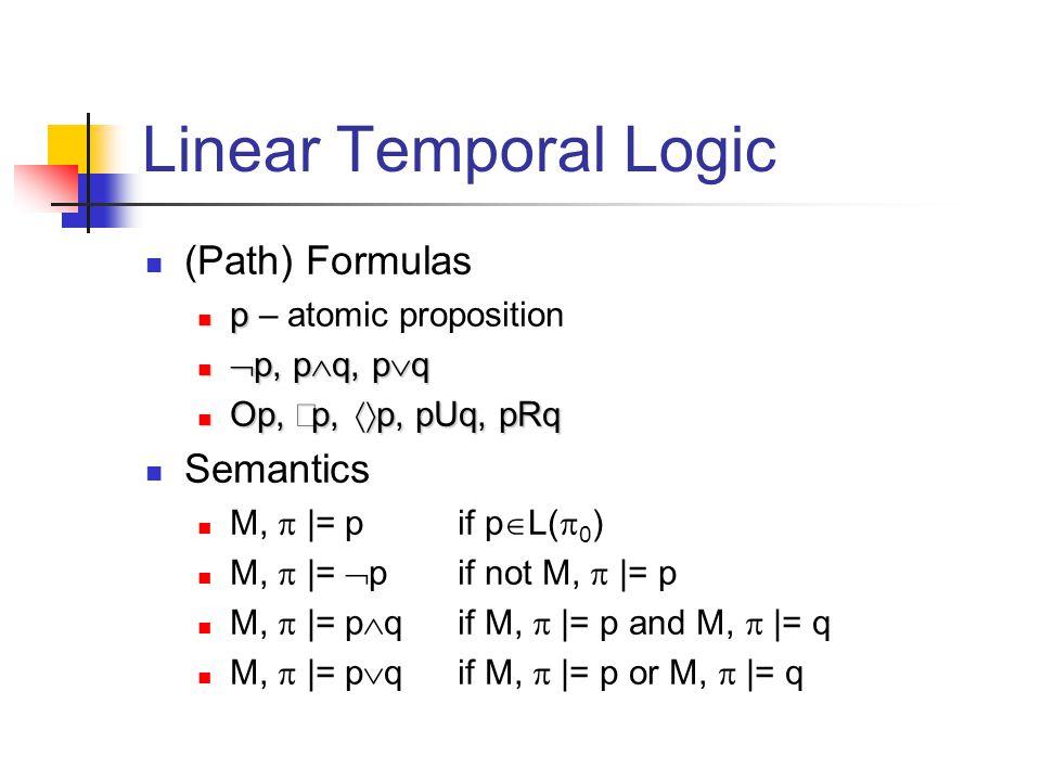 Linear Temporal Logic (Path) Formulas p p – atomic proposition  p, p  q, p  q  p, p  q, p  q Op,  p,  p, pUq, pRq Op,  p,  p, pUq, pRq Semantics M,  |= p if p  L(  0 ) M,  |=  p if not M,  |= p M,  |= p  qif M,  |= p and M,  |= q M,  |= p  qif M,  |= p or M,  |= q
