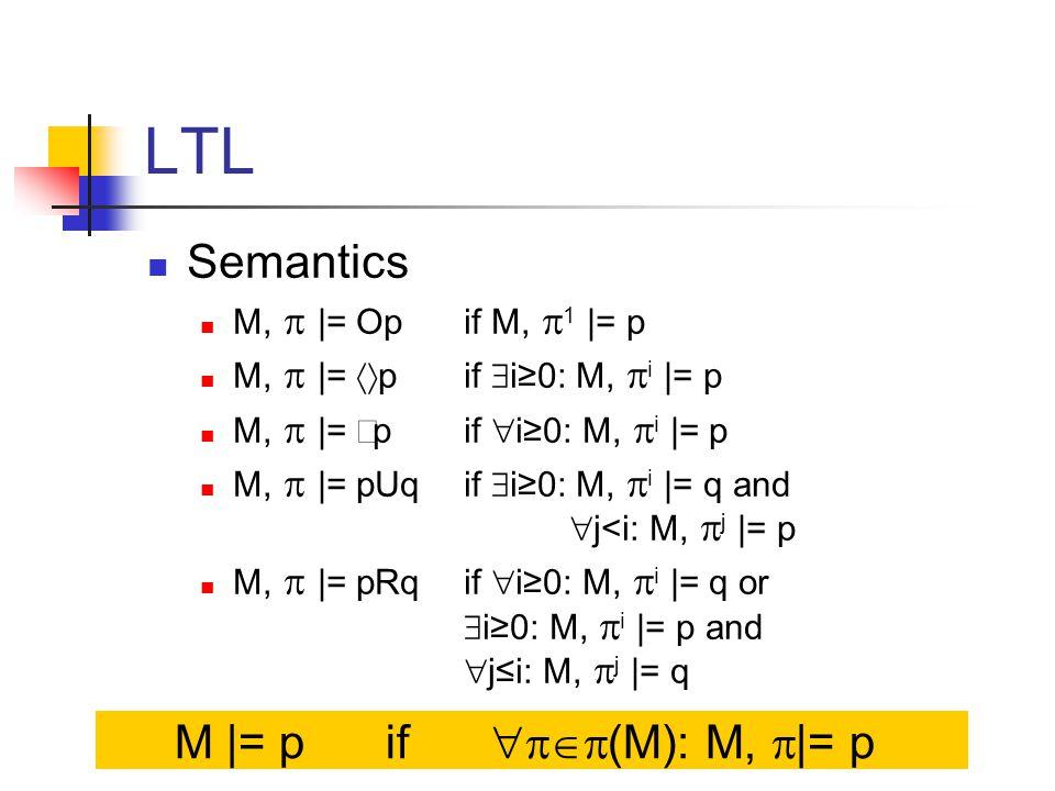 LTL Semantics M,  |= Op if M,  1 |= p M,  |=  p if  i≥0: M,  i |= p M,  |=  p if  i≥0: M,  i |= p M,  |= pUqif  i≥0: M,  i |= q and  j<i: M,  j |= p M,  |= pRq if  i≥0: M,  i |= q or  i≥0: M,  i |= p and  j≤i: M,  j |= q M |= pif  (M): M,  |= p
