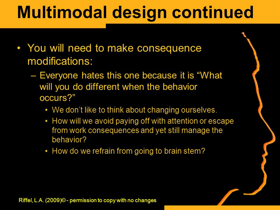 Multimodal design continued You will need to make consequence modifications: –Everyone hates this one because it is What will you do different when the behavior occurs We don't like to think about changing ourselves.