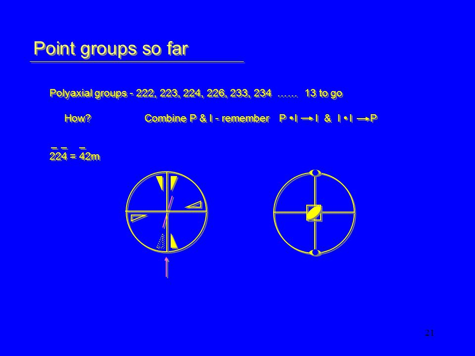 21 Point groups so far Polyaxial groups - 222, 223, 224, 226, 233, 234 …… 13 to go How?Combine P & I - remember P I I & I I P 224 = 42m Polyaxial groups - 222, 223, 224, 226, 233, 234 …… 13 to go How?Combine P & I - remember P I I & I I P 224 = 42m