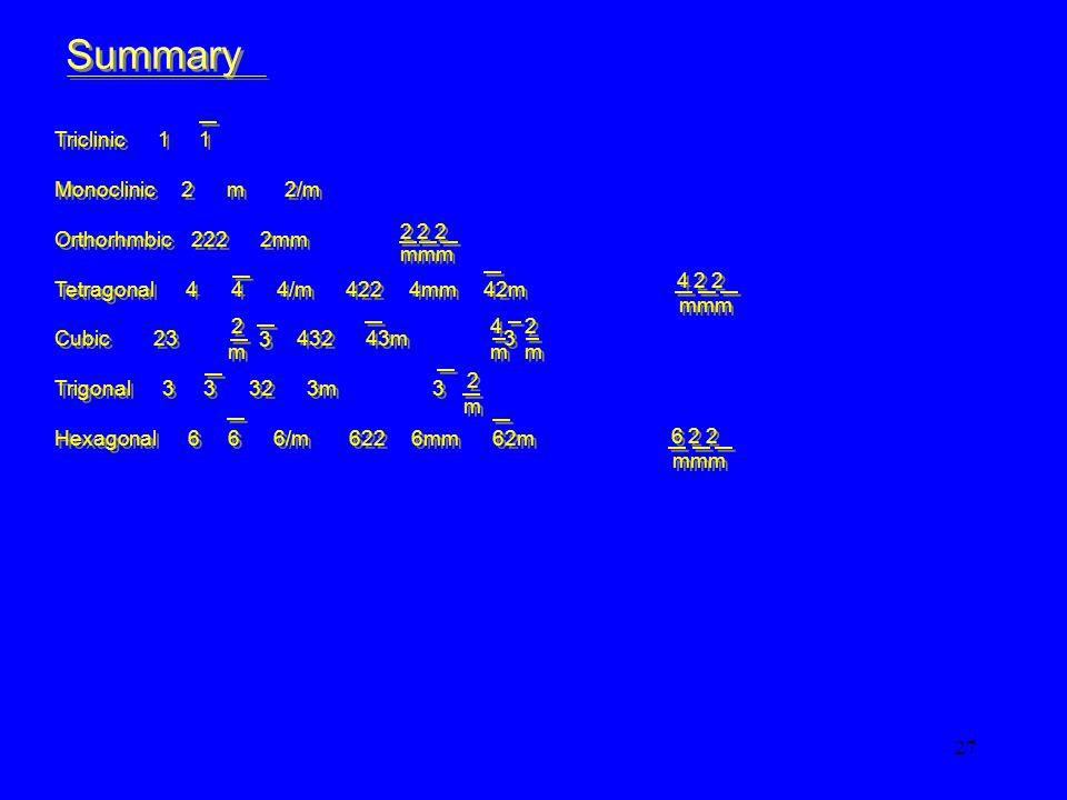27 Triclinic 1 1 Monoclinic 2 m 2/m Orthorhmbic 222 2mm Tetragonal 4 4 4/m 422 4mm 42m Cubic 23 432 43m 3 Trigonal 3 3 32 3m 3 Hexagonal 6 6 6/m 622 6mm 62m Triclinic 1 1 Monoclinic 2 m 2/m Orthorhmbic 222 2mm Tetragonal 4 4 4/m 422 4mm 42m Cubic 23 432 43m 3 Trigonal 3 3 32 3m 3 Hexagonal 6 6 6/m 622 6mm 62m Summary mmm 2 2 2 4 2 2 mmm m m 2 2 3 3 4 2 m m m 2 2 6 2 2 mmm