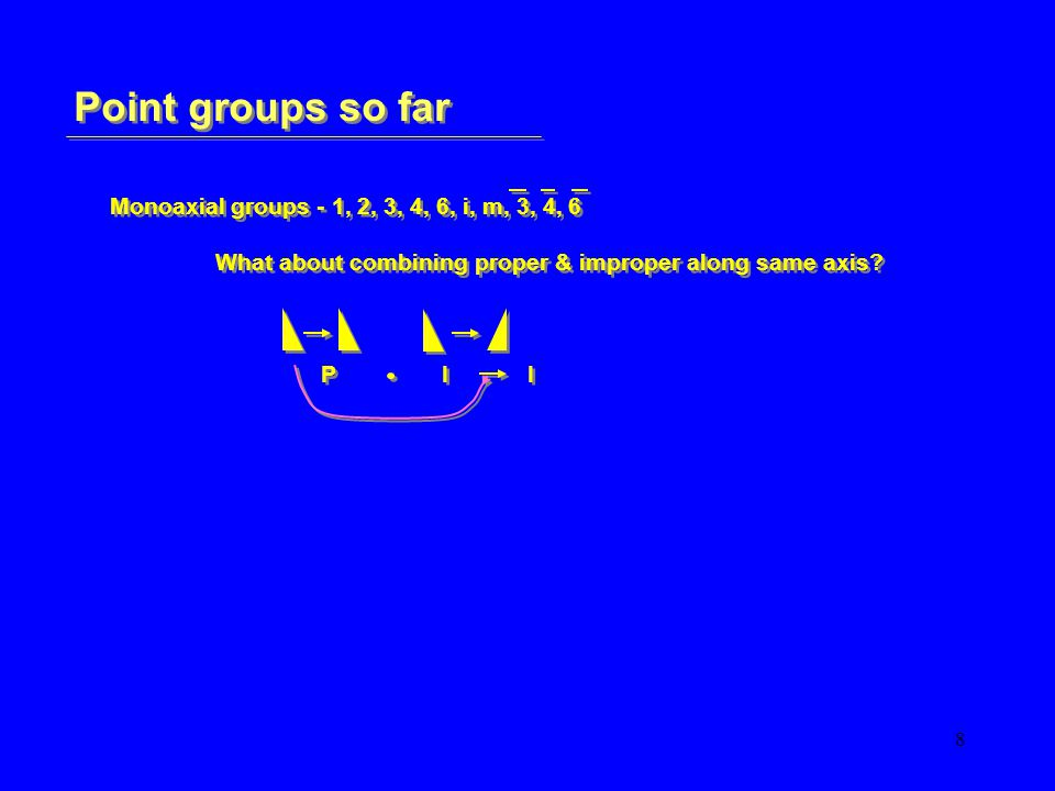 19 Point groups so far Polyaxial groups - 222, 223, 224, 226, 233, 234 …… 13 to go How?Combine P & I - remember P I I & I I P 223 = 3mm Polyaxial groups - 222, 223, 224, 226, 233, 234 …… 13 to go How?Combine P & I - remember P I I & I I P 223 = 3mm