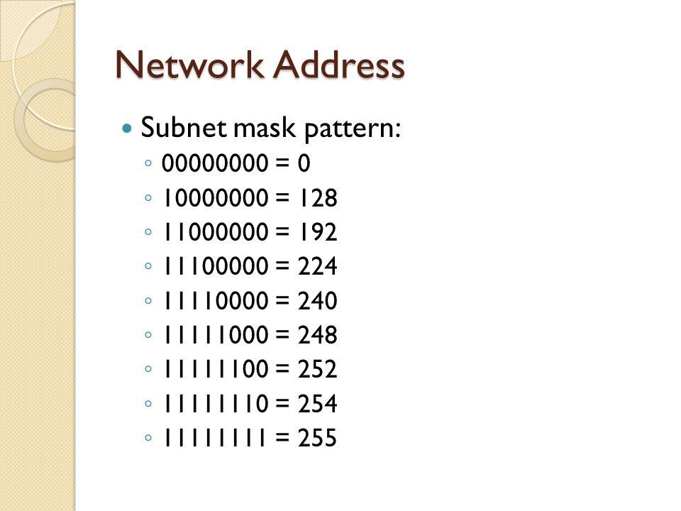 Subnet mask pattern: ◦ 00000000 = 0 ◦ 10000000 = 128 ◦ 11000000 = 192 ◦ 11100000 = 224 ◦ 11110000 = 240 ◦ 11111000 = 248 ◦ 11111100 = 252 ◦ 11111110 = 254 ◦ 11111111 = 255