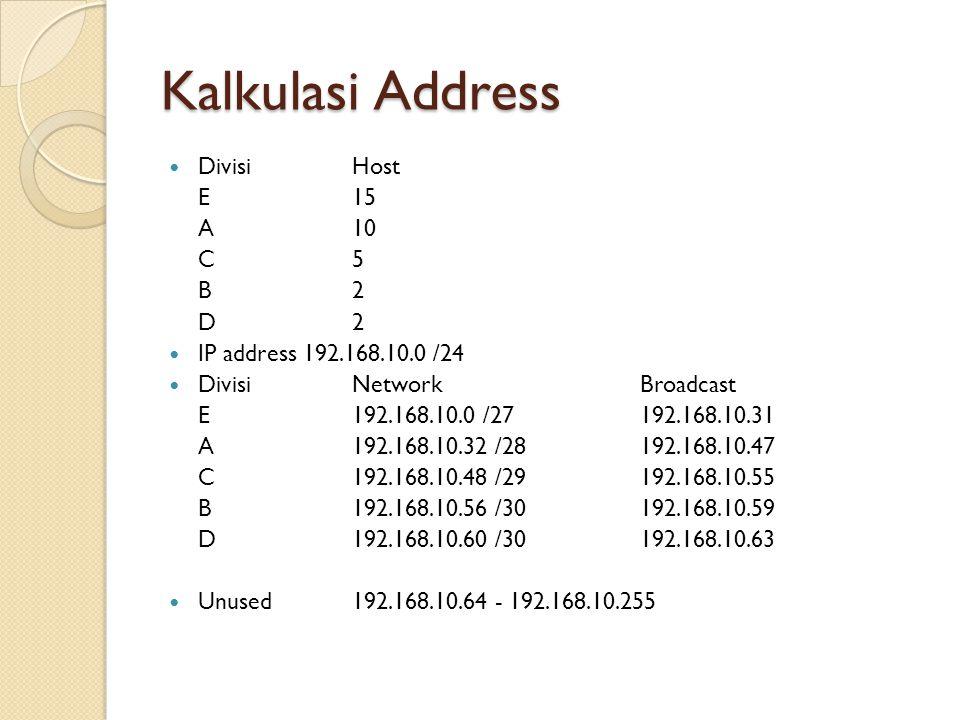 Kalkulasi Address DivisiHost E15 A10 C5 B2 D2 IP address 192.168.10.0 /24 DivisiNetworkBroadcast E192.168.10.0 /27192.168.10.31 A192.168.10.32 /28192.168.10.47 C192.168.10.48 /29192.168.10.55 B192.168.10.56 /30192.168.10.59 D192.168.10.60 /30192.168.10.63 Unused192.168.10.64 - 192.168.10.255