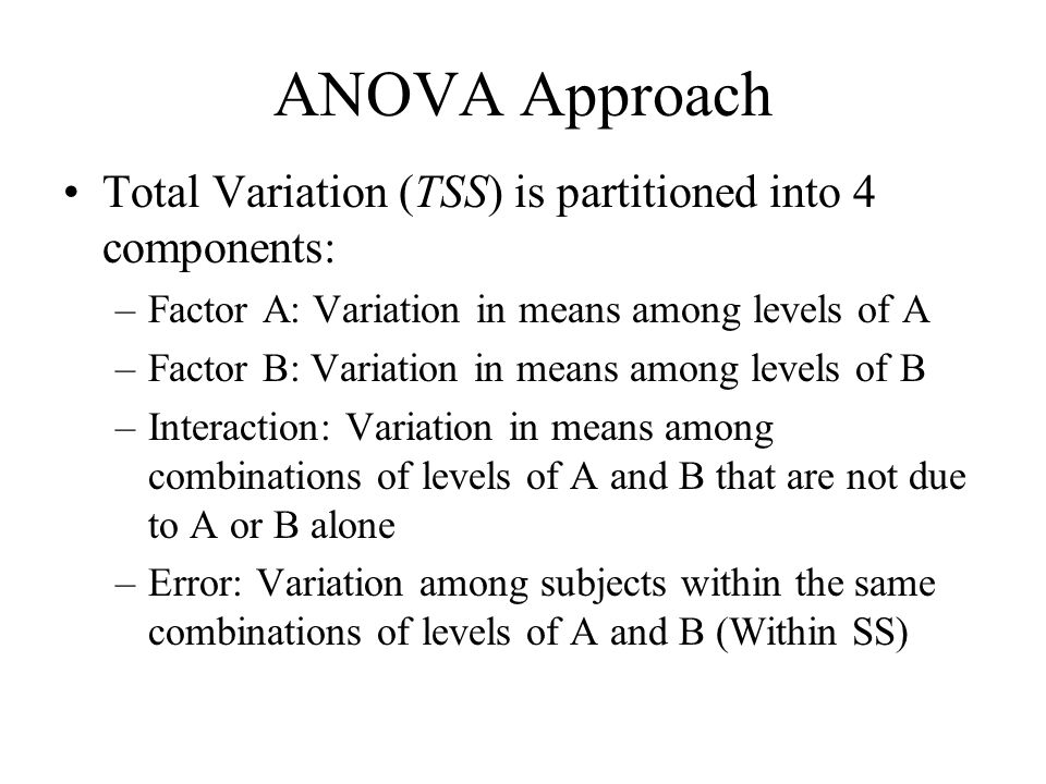 ANOVA Approach Total Variation (TSS) is partitioned into 4 components: –Factor A: Variation in means among levels of A –Factor B: Variation in means a