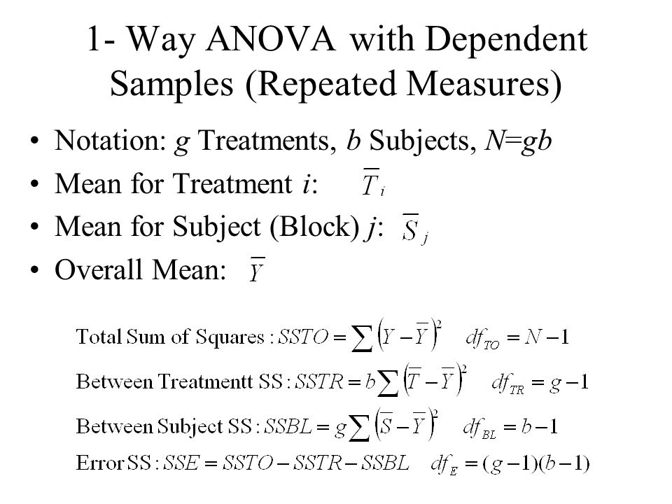 1- Way ANOVA with Dependent Samples (Repeated Measures) Notation: g Treatments, b Subjects, N=gb Mean for Treatment i: Mean for Subject (Block) j: Ove