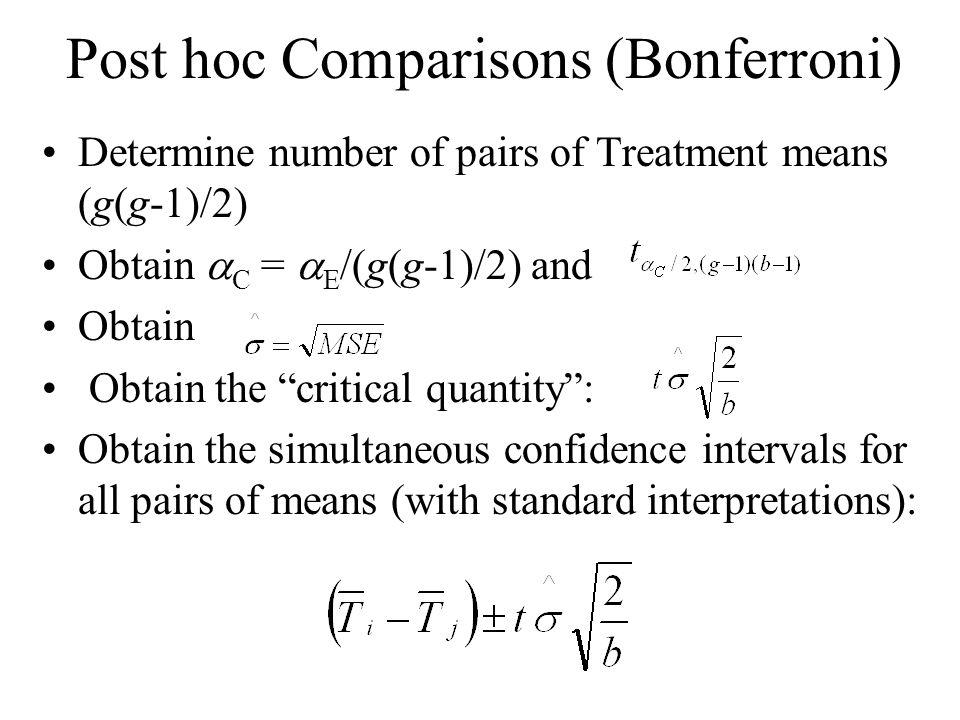 "Post hoc Comparisons (Bonferroni) Determine number of pairs of Treatment means (g(g-1)/2) Obtain  C =  E /(g(g-1)/2) and Obtain Obtain the ""critical"