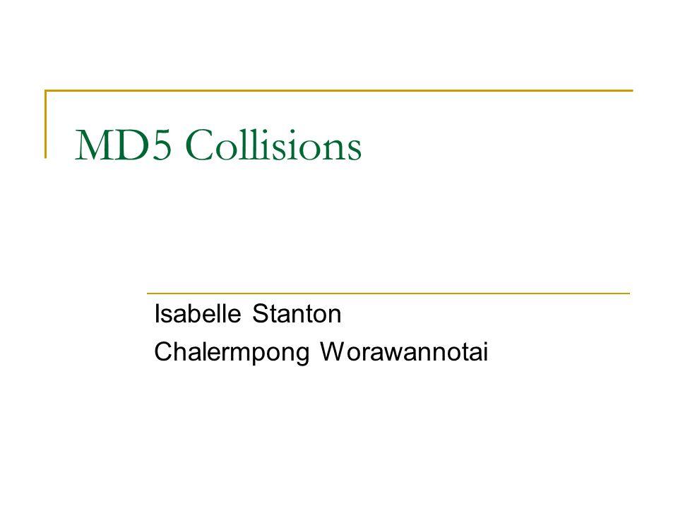 MD5 Collisions Isabelle Stanton Chalermpong Worawannotai