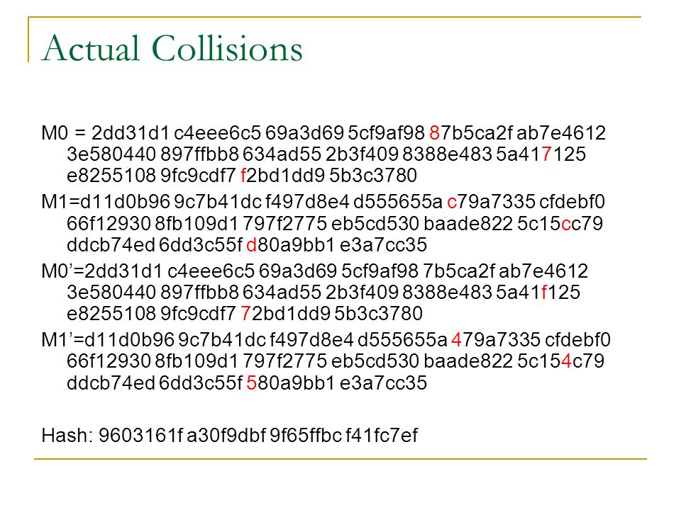 Actual Collisions M0 = 2dd31d1 c4eee6c5 69a3d69 5cf9af98 87b5ca2f ab7e4612 3e580440 897ffbb8 634ad55 2b3f409 8388e483 5a417125 e8255108 9fc9cdf7 f2bd1