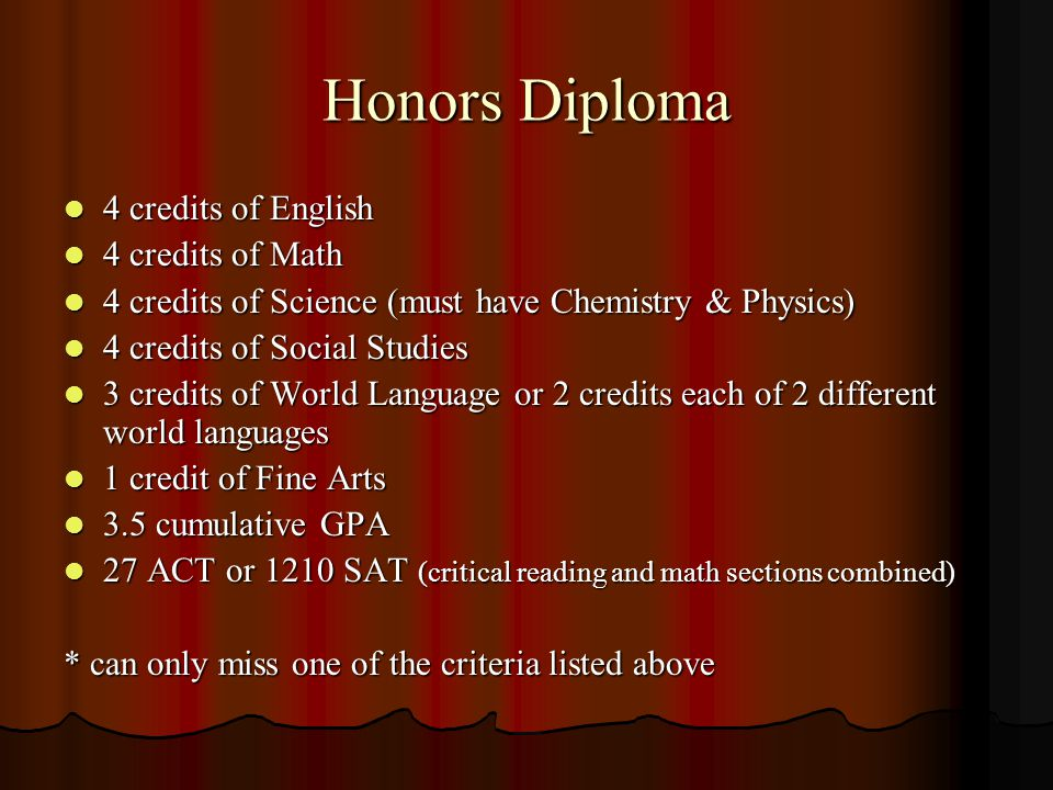 Honors Diploma 4 credits of English 4 credits of English 4 credits of Math 4 credits of Math 4 credits of Science (must have Chemistry & Physics) 4 credits of Science (must have Chemistry & Physics) 4 credits of Social Studies 4 credits of Social Studies 3 credits of World Language or 2 credits each of 2 different world languages 3 credits of World Language or 2 credits each of 2 different world languages 1 credit of Fine Arts 1 credit of Fine Arts 3.5 cumulative GPA 3.5 cumulative GPA 27 ACT or 1210 SAT (critical reading and math sections combined) 27 ACT or 1210 SAT (critical reading and math sections combined) * can only miss one of the criteria listed above