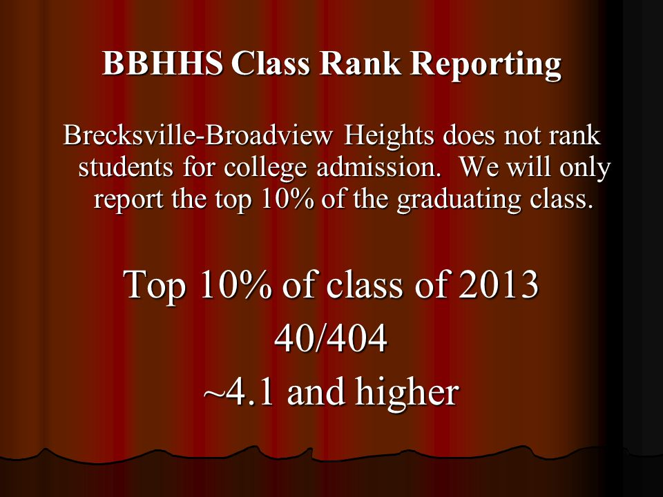 BBHHS Class Rank Reporting Brecksville-Broadview Heights does not rank students for college admission. We will only report the top 10% of the graduati