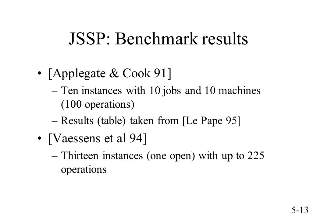 5-13 JSSP: Benchmark results [Applegate & Cook 91] –Ten instances with 10 jobs and 10 machines (100 operations) –Results (table) taken from [Le Pape 9