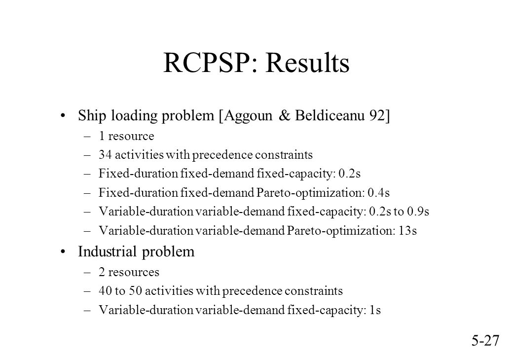 5-27 RCPSP: Results Ship loading problem [Aggoun & Beldiceanu 92] –1 resource –34 activities with precedence constraints –Fixed-duration fixed-demand